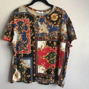 Zara Trafaluc Gold Leaf Design T-shirt NWOT Size M